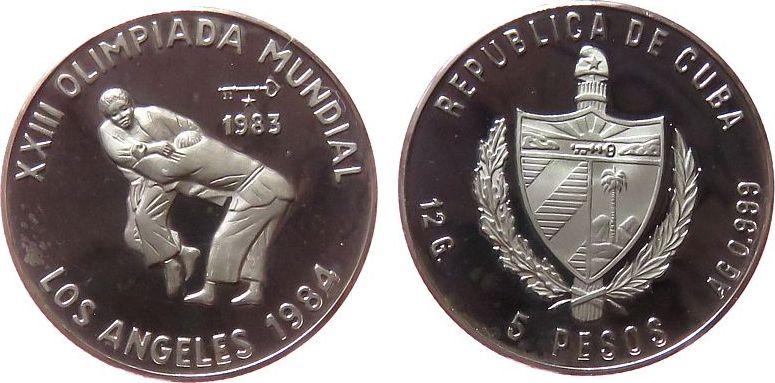 5 Pesos 1983 Kuba Ag Olympiade Judo, minimal fleckig pp