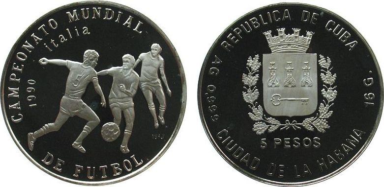 5 Pesos 1989 Kuba Ag Fußball WM Italien, drei Spieler pp