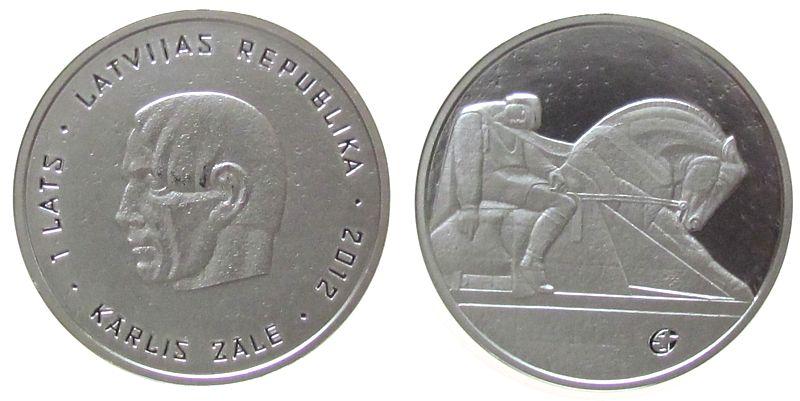 1 Lats 2012 Lettland Ag Karlis Zale, Bildhauer, ohne Box, ohne Zertifikat unz