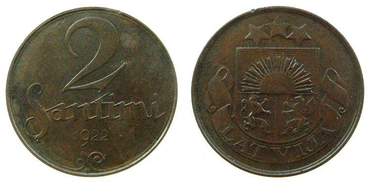 2 Santini 1922 Lettland Br mit Designernamen, kleiner Randfehler vz