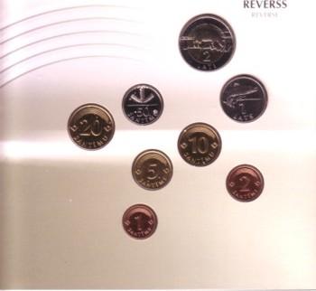 3,88 Lats 1992/99 Lettland div. Org.KMS im Blisterpack, KM12,13,15,16,17,21,22,38 unz