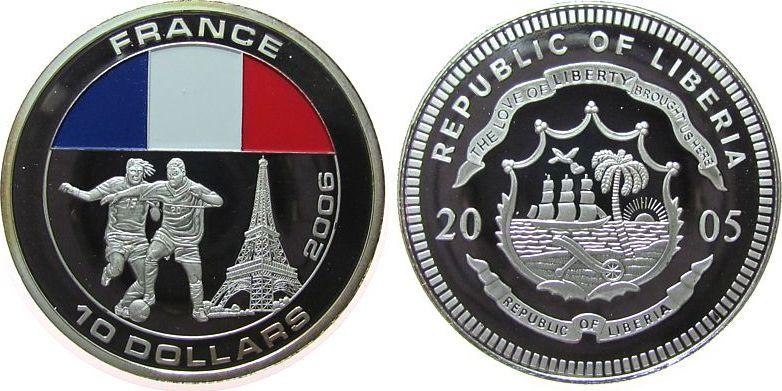 10 Dollar 2005 Liberia -- Fußball, zwei Spieler, Frankreich, coloriert, etwas Patina pp