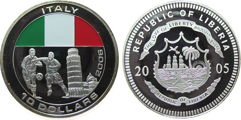 10 Dollar 2005 Liberia -- Fußball, zwei Spieler, Italien, coloriert, etwas Patina pp
