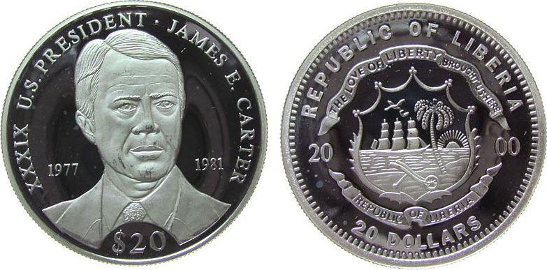 20 Dollars 2000 Liberia Ag Carter James F. 1977-81, US-Präsident, feine Handlingsmarken pp
