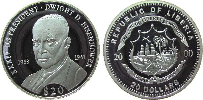 20 Dollars 2000 Liberia Ag Eisenhower Dwight D. 1953-61, US-Präsident, feine Handlingsmarken pp