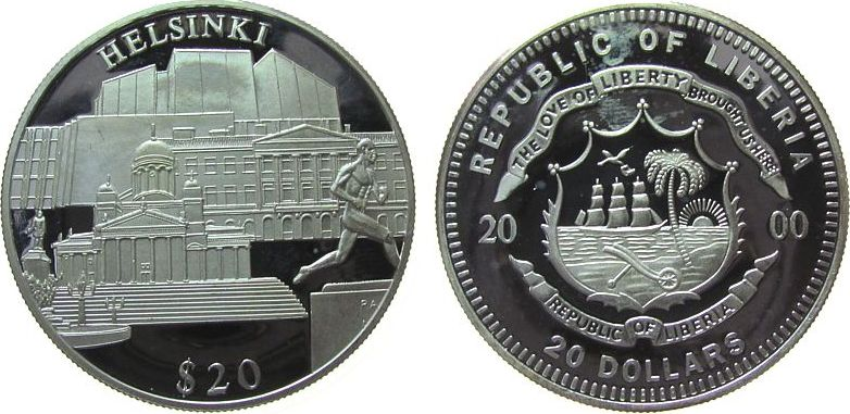 20 Dollars 2000 Liberia Ag Helsinki (Finnland), etwas fleckig, feine Handlingsmarken pp