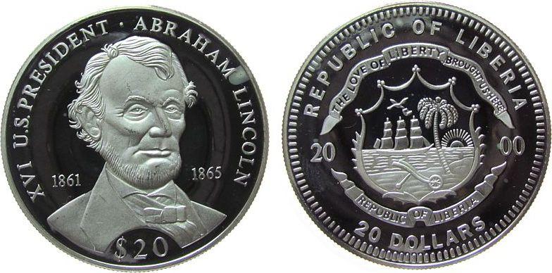 20 Dollars 2000 Liberia Ag Lincoln Abraham 1861-1865, US-Präsident, feine Handlingsmarken, kleiner Fleck pp