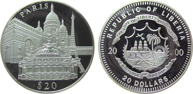 20 Dollars 2000 Liberia Ag Paris (Frankreich), Eiffelturm etc., etwas fleckig, feine Handlingsmarken pp