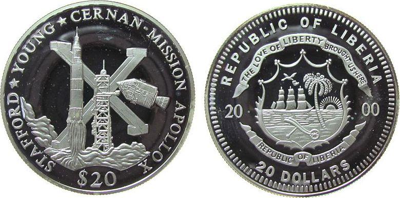 20 Dollars 2000 Liberia Ag Apollo X, Saturnrakete / Startrampe und Raumkapsel, etwas fleckig, feine Handlingsmarken pp