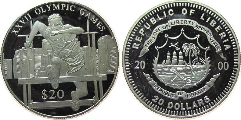 20 Dollars 2000 Liberia Ag Olympiade Hürdenlauf, etwas fleckig, feine Handlingsmarken pp