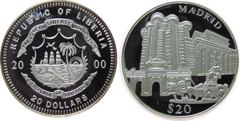 20 Dollar 2000 Liberia Ag Madrid, etwas angelaufen pp