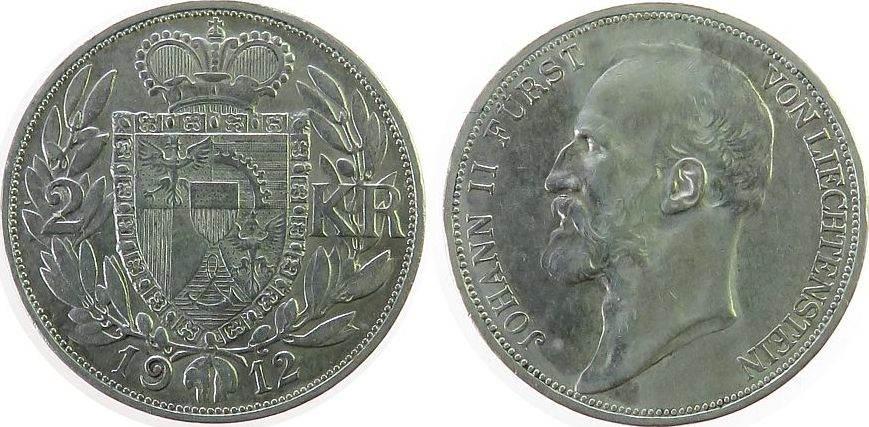2 Kronen 1912 Liechtenstein Ag Johann II. 1858-1929, HMZ1377 vz