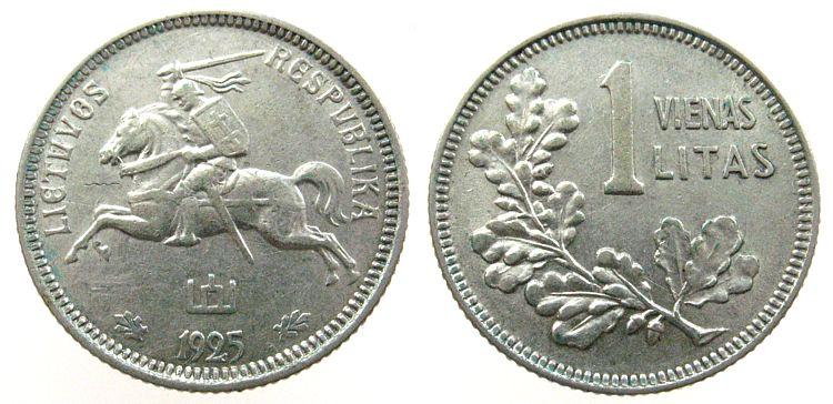 1 Litas 1925 Litauen Ag Schön 6, kleiner Schrötlingsfehler vz