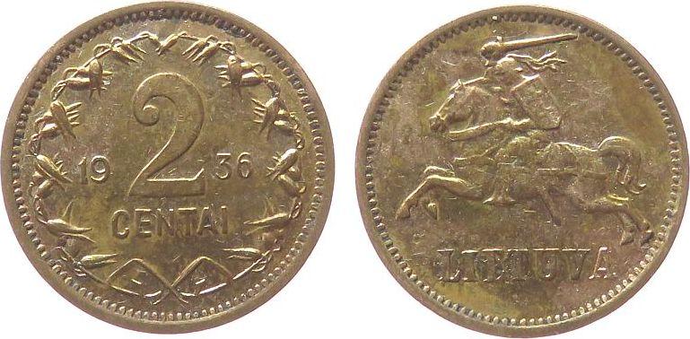 2 Centai 1936 Litauen Br Reiter, bronziert..? ss-vz