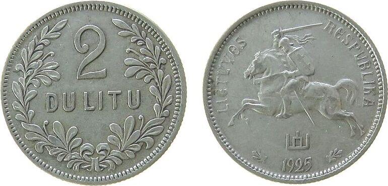 2 Litai 1925 Litauen Ag Reiter ss