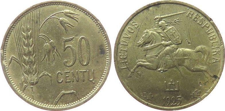 50 Centu 1925 Litauen AlBr Reiter, Randfehler ss