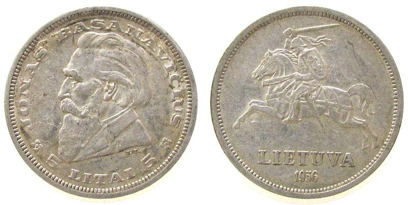 5 Litai 1936 Litauen Ag Basanavicius ss