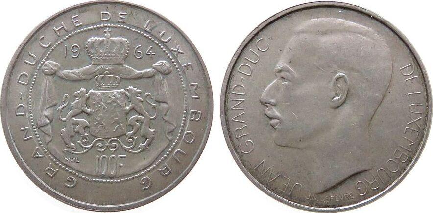 100 Francs 1964 Luxemburg Ag Jean I unz