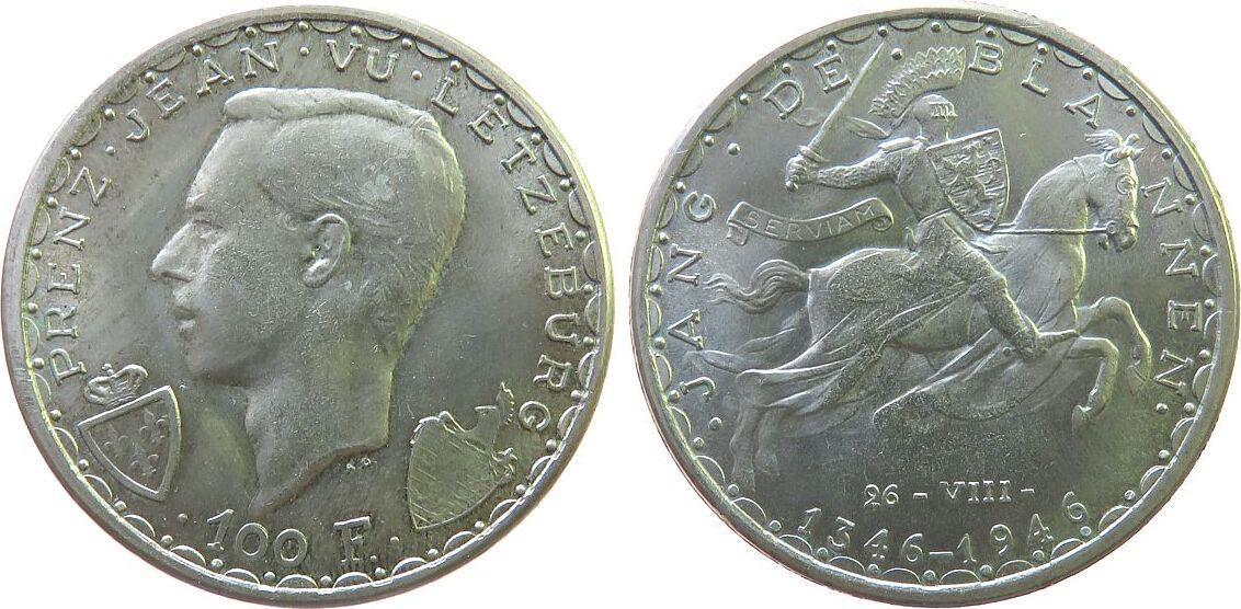 100 Francs 1946 Luxemburg Ag Charlotte 1919-1964, Schlacht von Cresy, ohne Designernamen unz
