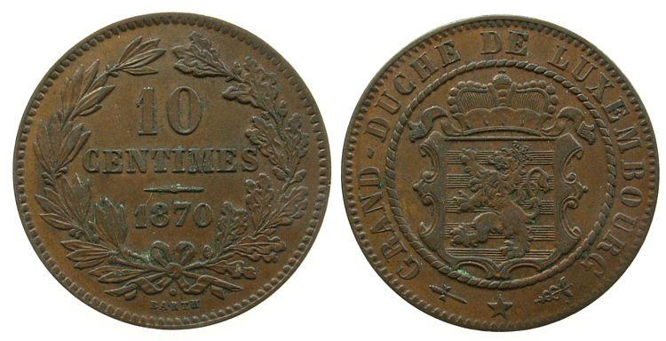 10 Centimes 1870 Luxemburg Br Willem III, mit Punkt ss-vz