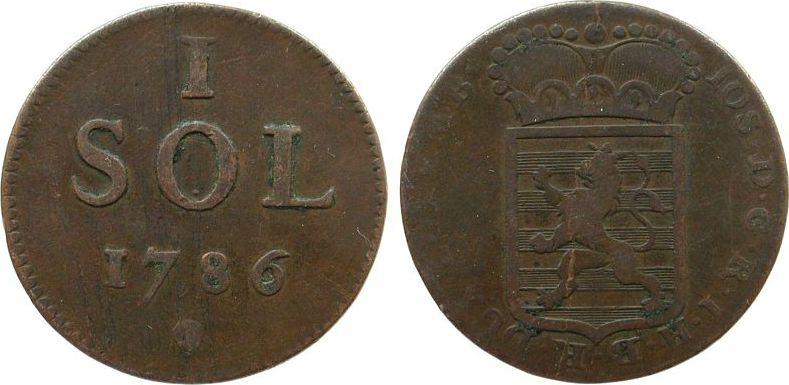 1 Sol 1786 Luxemburg Ku Joseph II, Jaeckel 49, RDR, Brüssel schön