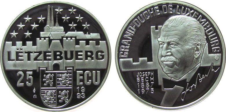 25 Ecu 1993 Luxemburg Ag Bech Joseph (1887-1975), Staatsmann pp