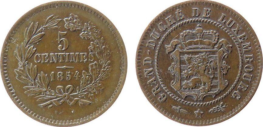 5 Centimes 1854 Luxemburg Br Willem II ss-vz