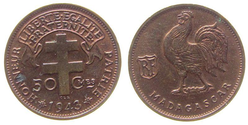 50 Centimes 1943 Madagaskar Br Pretoria, Lecom. 93, etwas fleckig vz