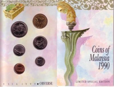 1,86 Ringgit 1990 Malaysia div. Org. KMS, 6 Mz. 0,01-1 Ring., limitierte Auflage unz