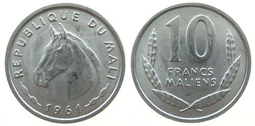 10 Francs 1961 Mali Al Pferdekopf unz