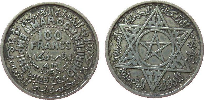 100 Francs 1953 Marokko Ag Mohammed V, AH1372 ss