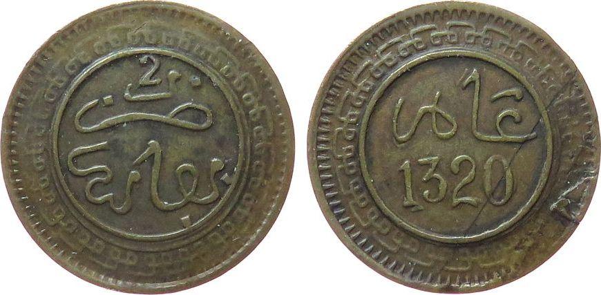 2 Mazunas 1902 Marokko Br Al Aziz IV (1894-1908), AH1320, Fez, Gad.14, größerer Schrötlingsfehler ss