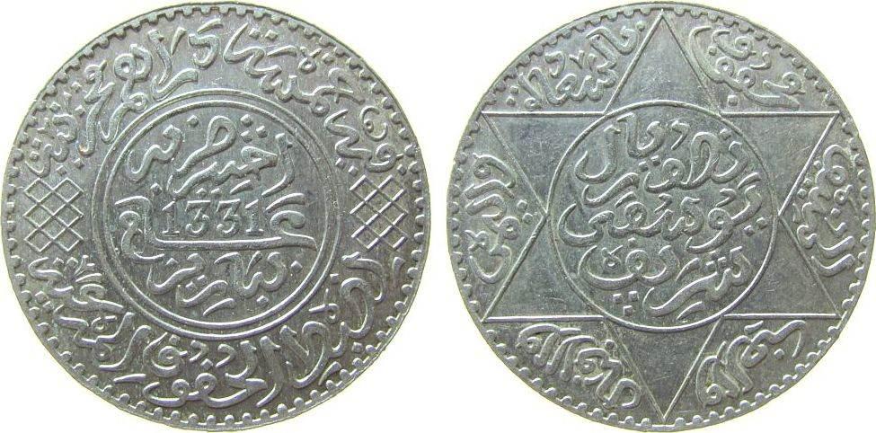 5 Dirhams 1913 Marokko Ag AH1331, Mulai Youssef, ½ Rial vz+