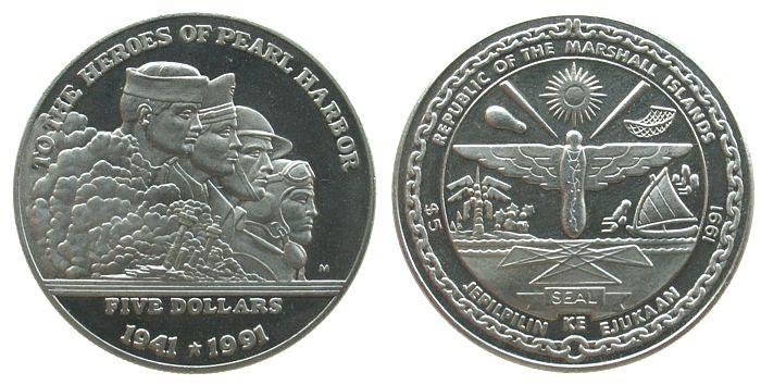 5 Dollar 1991 Marshall Inseln KN Schlacht um Pearl Harbor unz
