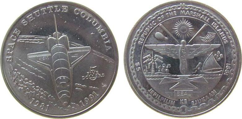 5 Dollar 1991 Marshall Inseln KN Space Shuttle Columbia, winzige Flecken unz