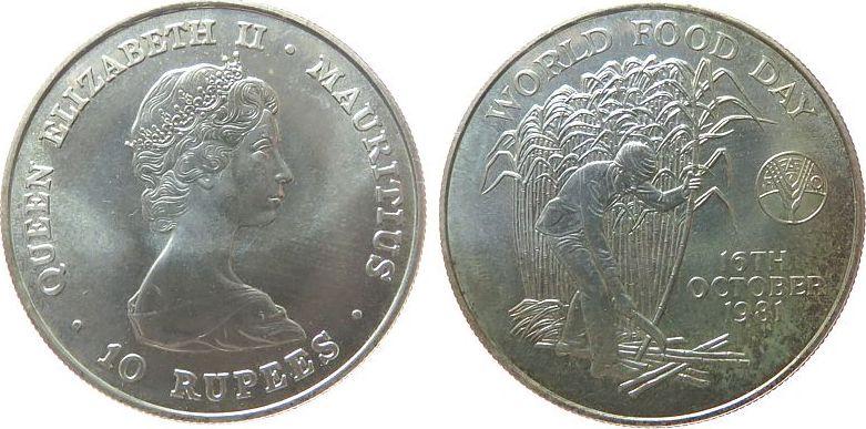 10 Rupees 1981 Mauritius Ag Elisabeth II, Welternährungstag, Patina unz