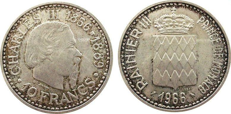 10 Francs 1966 Monaco Ag 100 Jahre Monte Carlo, Schön 27, ESSAI unz