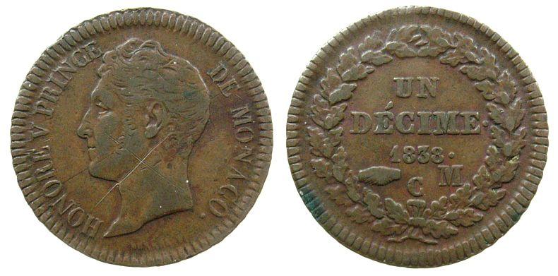 1 Decime 1838 Monaco Ku Honore V, feine Kratzer ss+