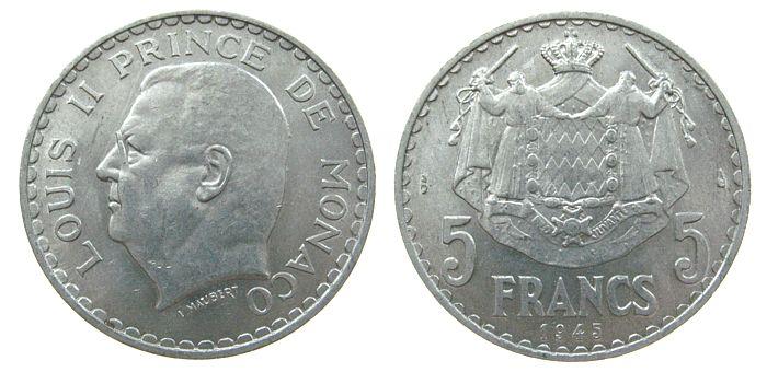5 Francs 1945 Monaco Al Louis II, Schön 10 vz-unc