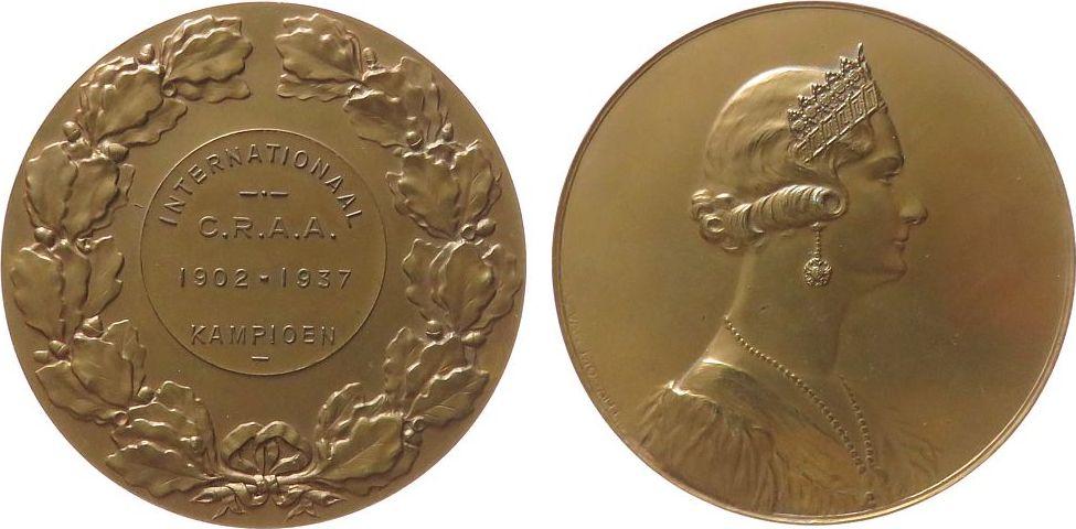 Medaille 1937 Belgien Bronze Astrid von Schweden - Königin von Belgien, Internationale C.R.A.A. 1902-1937 in Kampen (Kampioen), Brustbild mit Diadem n vz