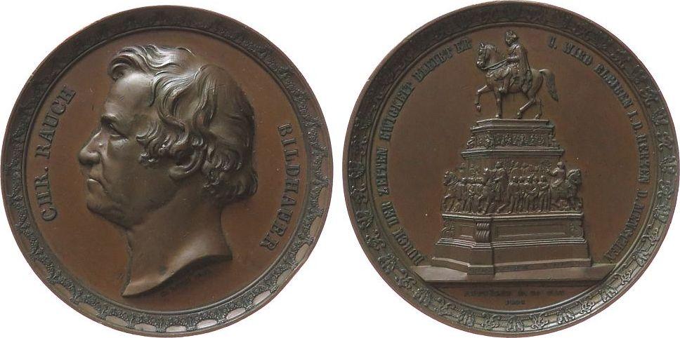 Medaille 1851 Personen Bronze Rauch Christian (1777 - 1857) - auf die Errichtung des Denkmals auf Friedrich II, Büste nach links / Reiterstandbild in B ss-vz