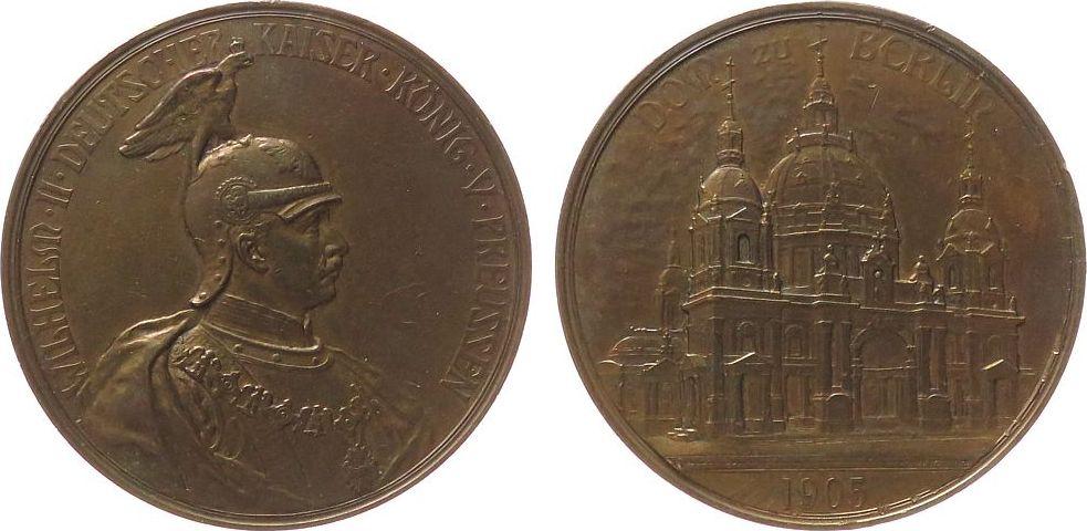 Medaille 1905 Berlin Bronze Wilhelm II. (1888-1918) - auf die Einweihung des Berliner Doms, Brustbild nach rechts / Domansicht, v. Krüger / Kullrich, vz