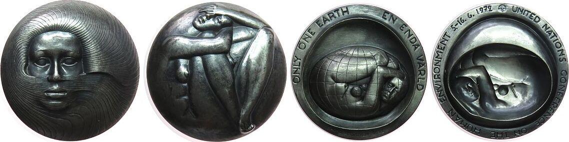 Medaille 1972 Schweden Silber Stockholm - auf die UN Umweltkonferenz, zweiteilige Medaille, weibliche Büste mit wehenden Haaren / nackte Frau mit Erdba gußfrisch