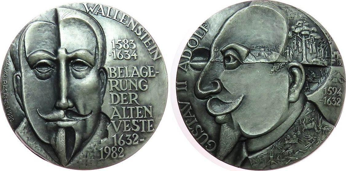 Medaille 1982 Personen Silber Wallenstein Albrecht von (Albrecht Wenzel Eusebius von Waldstein - 1583-1634) - auf den 350. Jahrestag der Schlacht an de vz-stgl