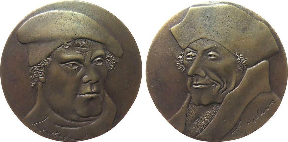 Medaille o.J. Münchner Medailleure Bronzeguß Luther Martin und Ersamus von Rotterdam, v. Pilgrim Hubertus von, ca. 111 MM, ca. 471 Gramm gußfrisch