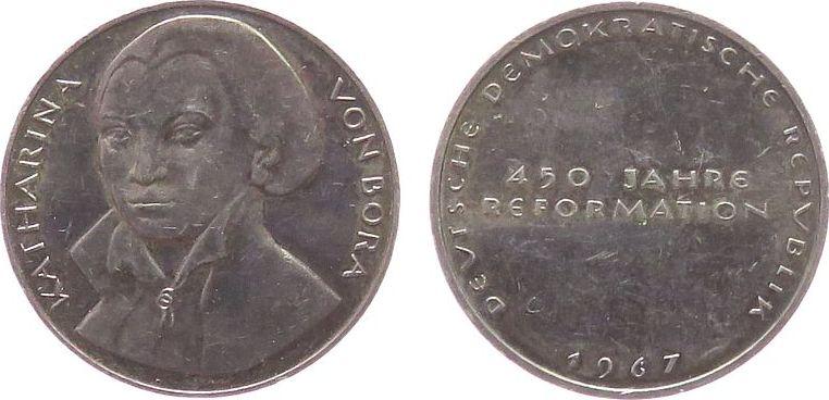 Medaille 1967 Reformation / Religion -- Bora Katharina von, aus der Medaillensuite Reformationsjubiläum 1967 der DDR, ca. 26,5 MM, ca. 8,80 Gramm fast vz