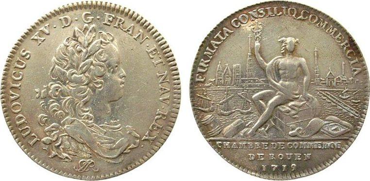 Jeton 1719 Frankreich Silber Louis XV, Chambre de commerce, F.6305 (var. buste), Durchmesser 30,8 MM vz