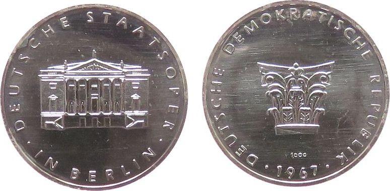 Medaille 1967 Berlin Silber Berlin - Staatsoper, DDR, Gebäude / Emblem, ca. 26,5 MM, ca. 8,86 Gramm vz-stgl