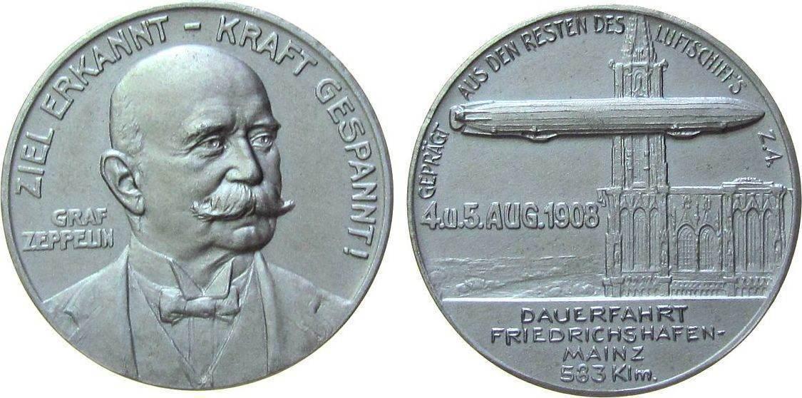 Medaille 1908 Luftfahrt Aluminium Zeppelin - auf das Unglück bei Echterdingen, hergestellt aus den Resten des Luftschiffes, Brustbild halbrechts / Lufts prägefrisch
