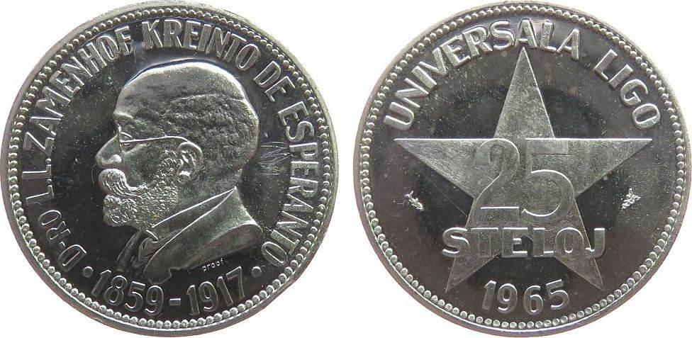 25 Steloj 1965 Ungarn Silber Universala Ligo, sie wurde von Andreas Cseh gegründet zur Förderung der Weltsprache Esperanto, Dr. Zamenhof war der Begrü pp-